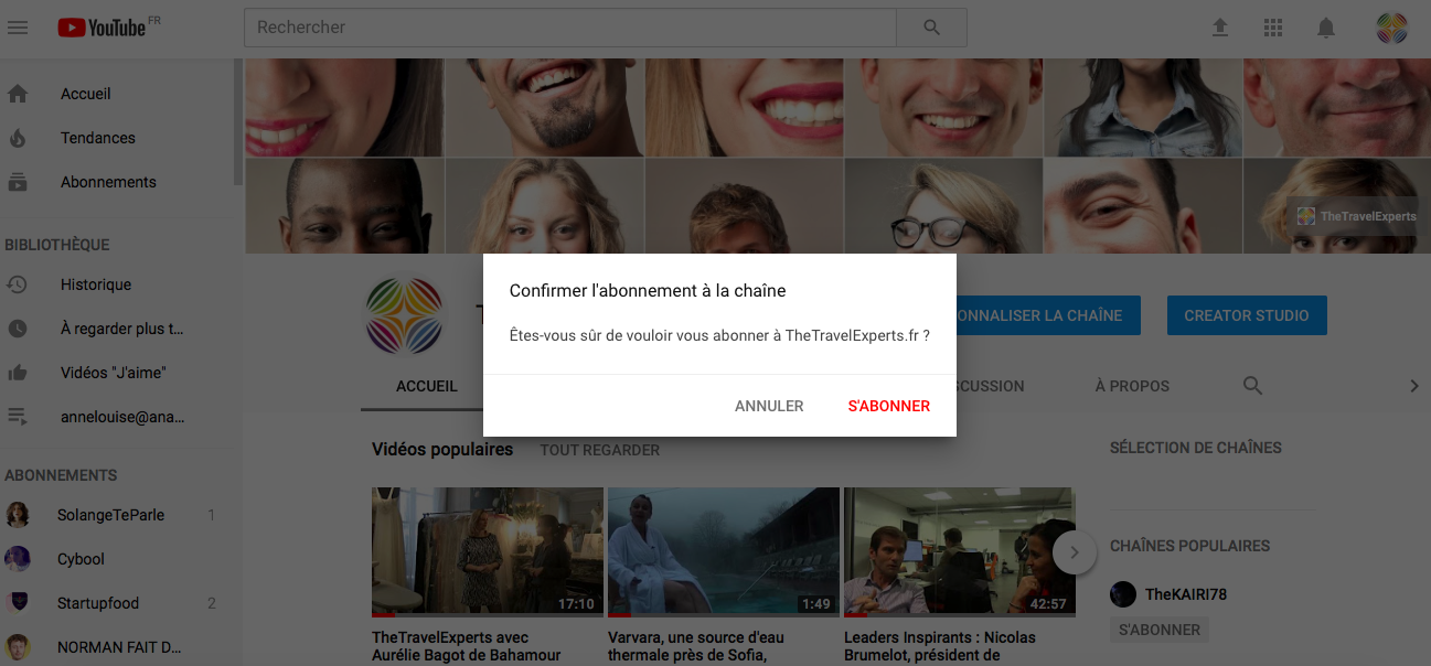 Astuce pour inciter la souscription à une chaîne voyage sur Youtube