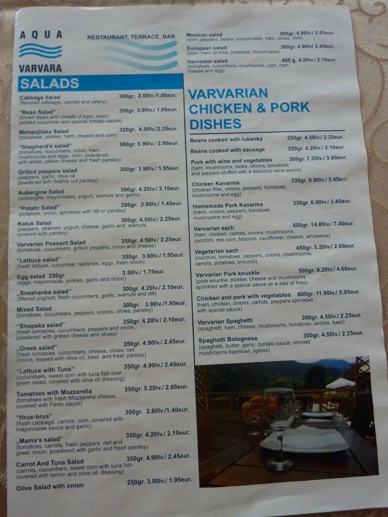 Hôtel Aqua Varvara menu