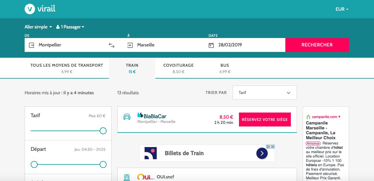 Comparateur Montpellier-Marseille